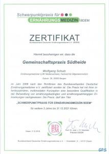 Zertifikat Schwerpunktpraxis für Ernährungsmedizin
